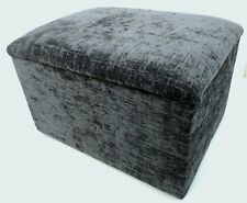 """Footstool With Storage In grey Chenille Fabric Size 20"""" x 20"""" x 14"""" High"""