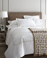 Sferra Grande Hotel White Standard Sham Wheat Stripe Egyptian Cotton Italy NEW