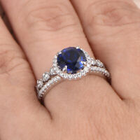 2.90 Ct Blue Sapphire Engagement Band Sets 14K White Gold Diamond Rings Size L M