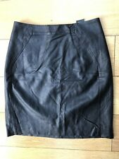 """H&M Size 8 Pleather Skirt L18"""" W26"""" Black Faux Leather Pencil Zips Punk Lined"""