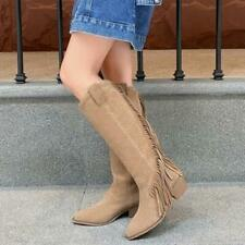 Womens Chic Suede Leather Fringe Tassel Mid Heel Western Cowboy Boots Shoes MOON