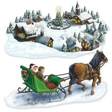 CHRISTMAS VILLAGE AND SLEIGH SCENE SETTER add on props wall window decor
