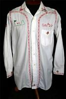 VERY RARE COLLECTIBLE VINTAGE 1950'S WHITE COTTON EMBROIDERED SHIRT SIZE MED