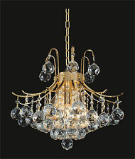 "Hanging 4' Crystal Prism GOLD CHANDELIER, (D16"" x H20"") 6-Light Ceiling Fixture"