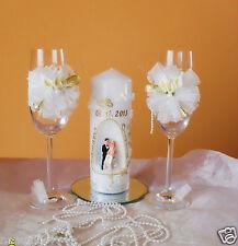 Hochzeitsgläser mit Hochzeitskerze ,Sektgläser,Traukerze-Callas Hochzeitsgeschen