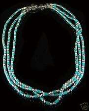 Sterling Silver 3 Strand Kingman Turquoise Necklace