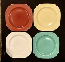 4 Art Deco Homer Laughlin Pottery Riviera Plates Fiesta Colors Red Green Yellow