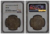 NGC Peru 1831 8 Reales Cuzco G Mint Silver Coin Scarce AU55