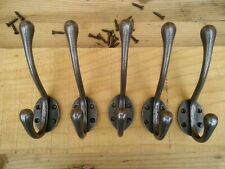 5 X Cast Iron Victorian Style Coat Hooks School Type, Natural polished iron.