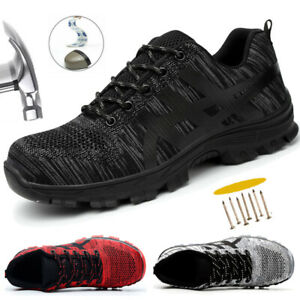 MENS SAFETY SHOES WOMENS STEEL TOE CAP WORK BOOTS HIKING TRAINERS BLACK [UK 15]