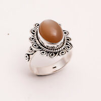 925 Sterling Silver Ring US SZ 9, Natural Moonstone Gemstone Jewelry 7.8 gm