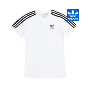 Adidas Stripes Tee Women's T Shirt Top Athletic Jersey Sports Gym White GN2913