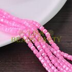 New 100pcs 4mm Cube Square Silver Foil Glass Loose Spacer Beads Light Pink