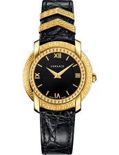 Versace Women DV-25 Swiss Quartz Stainless Steel Leather Watch, Black VAM030016