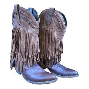 Liberty Black Womens Boots Brown Leather Vegas Fringe T-Moro LB71124 Size 10 M