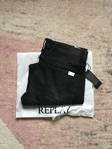REPLAY Anbass Stretch Men's Slim Fit Blue Jeans, Size W34 L32 Charcoal Black