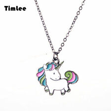 Cartoon Cute Rainbow Horse Unicorn Design Metal  Necklaces Fashion Jewelry
