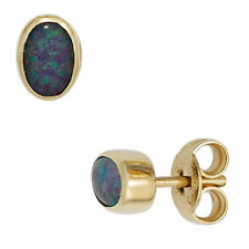Ovale Echter Edelsteine-Ohrschmuck aus Gelbgold mit Opal für Damen