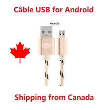 6 Ft Braided Aluminium Micro USB Data & Sync Gold câble chargeur for Android A17