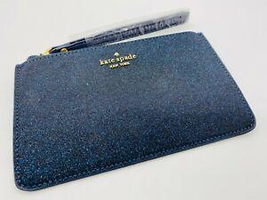 Kate Spade New York women's leather glitter wristlet pouch, purse in dark blue!