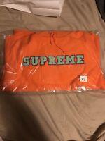 Supreme SS18 Cord Collegiate Logo Hooded Sweatshirt orange Size XL Brand New