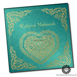 Gold Heart Walima Mubarak - Islamic Wedding Greeting Cards-WWC039