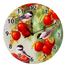 Round Analog Wall Clock Living Room Home Office Decorative Apples Birds Pattern