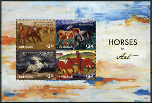 Grenada Art Stamps 2015 MNH Horses Eugene Delacroix Francis Picabia 4v M/S II