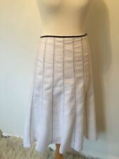 Per Una 100% Linen skirt White & Black stitching Fully Lined.panels flippy.sz 12