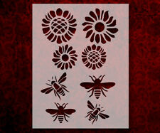 "Bee Bees Flower Flowers 8.5"" x 11"" Stencil FAST FREE SHIPPING (624)"