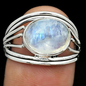 Natural Rainbow Moonstone - India 925 Sterling Silver Ring s.8.5 Jewelry E719