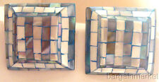 Big Light Blue Mother of Pearl Square Mosaic Clip Earrings