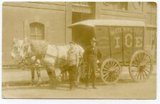RPPC NY Watervliet Horton Ice Delivery Horse Drawn Wagon Albany County