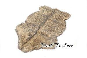 2' x 3' Black Tip Coyote Faux Fur Rug Sheep Pelt Lodge Cabin PlushFurEver