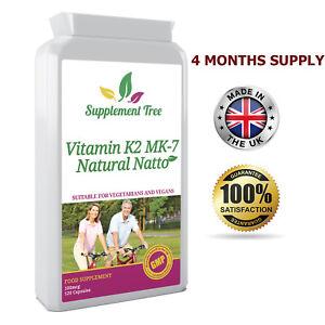 VITAMIN K2 MK7 Natural Natto 100mcg 120 Capsules - Vit K Vascular & Bone Health