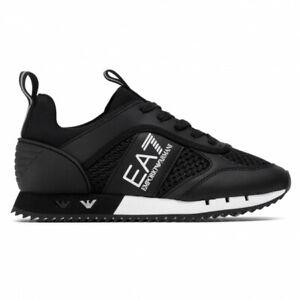 EMPORIO ARMANI EA7 Sneakers uomo Black&White Laces in mesh con loghi metallici