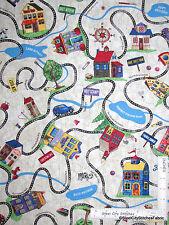 House Neighborhood Road Car Cotton Fabric Timeless Treasures Row C4492 - Yard