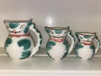 VINTAGE LIPPER & MANN CAT Pitcher/creamer Green And White W/Pink Bow- Set Of 3