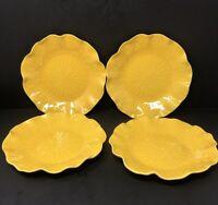 Vintage Set Of 4 Metlox Poppytrail Lotus Bright Yellow Pattern 5-81 Salad Plate