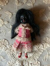 Antique Jointed All Bisque Black Mignonette Doll - Glass Eyes - 3 1/4""