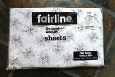 FAIRLINE   Cotton  FITTED  Single    SHEET     Retro VINTAGE  Fabric.