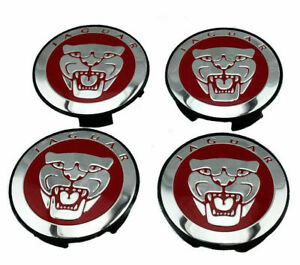 NEW Set of 4x Jaguar Center Wheel Hub Caps 59MM RED/Chrome S-type X-Type XJR