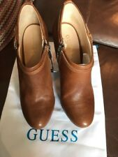 Guess Brown Leather Ankle Boots Size 38
