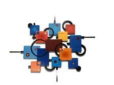 Retro look Geometric Abstract Art Wood Metal Wall Sculpture Hanging 37x31