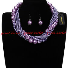 Fashion Jewelry Resin Pearl Chain Chunky Choker Statement Pendant Bib Necklace
