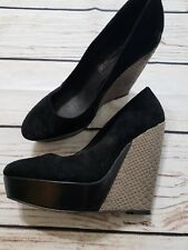 Steve Madden Woman's Shoes Black Wedge Heels Faux Snake Skin Round Toe Size 8.5