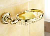 Bathroom Accessory Golden Brass Wall Mounted Soap Dish Holder Basket qba094