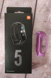 Xiaomi Mi Smart Band 5 Watch - Black with Spare Purple Strap
