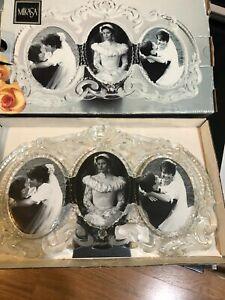 Vintage Mikasa Crystal Triple Oval Picture Frame Princess SA 751/939 IN BOX