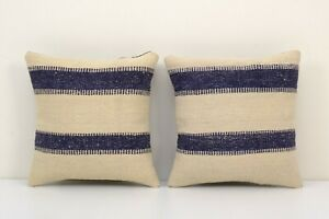 "14"" x 14"" Vintage Blue Striped Organic Hemp Kilim Pillow"